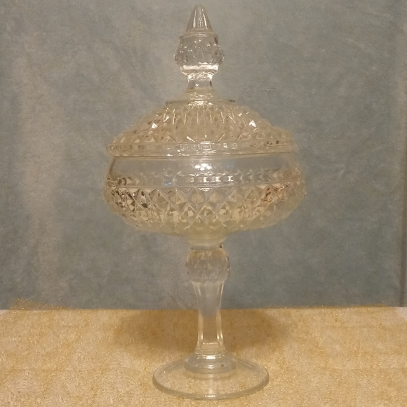 Large Glass Dish With Pedestal & Lid